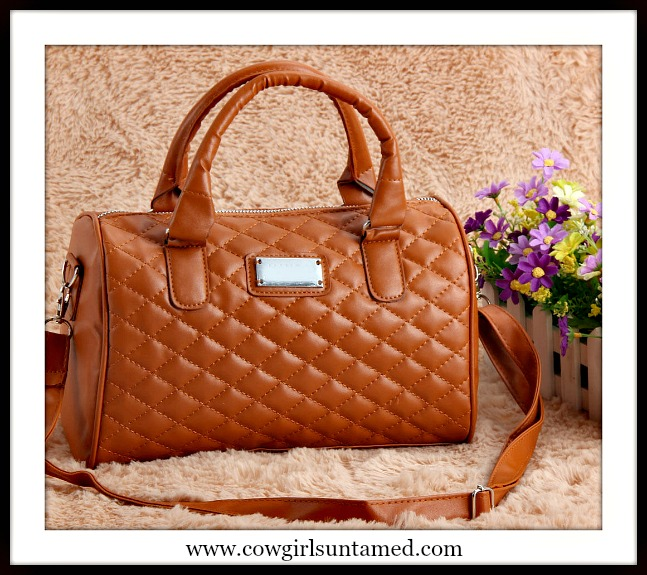 COWGIRL GLAM HANDBAG Brown Quilted Zip Top Barrel Bag with Removeable Shoulder Strap