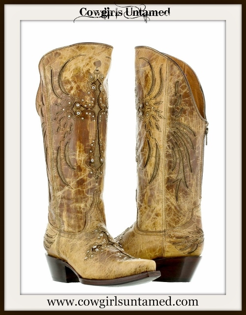 WESTERN COWGIRL BOOTS Zip Back Rhinestone CrossTan N Brown Distressed GENUINE LEATHER Cowgirl Boots