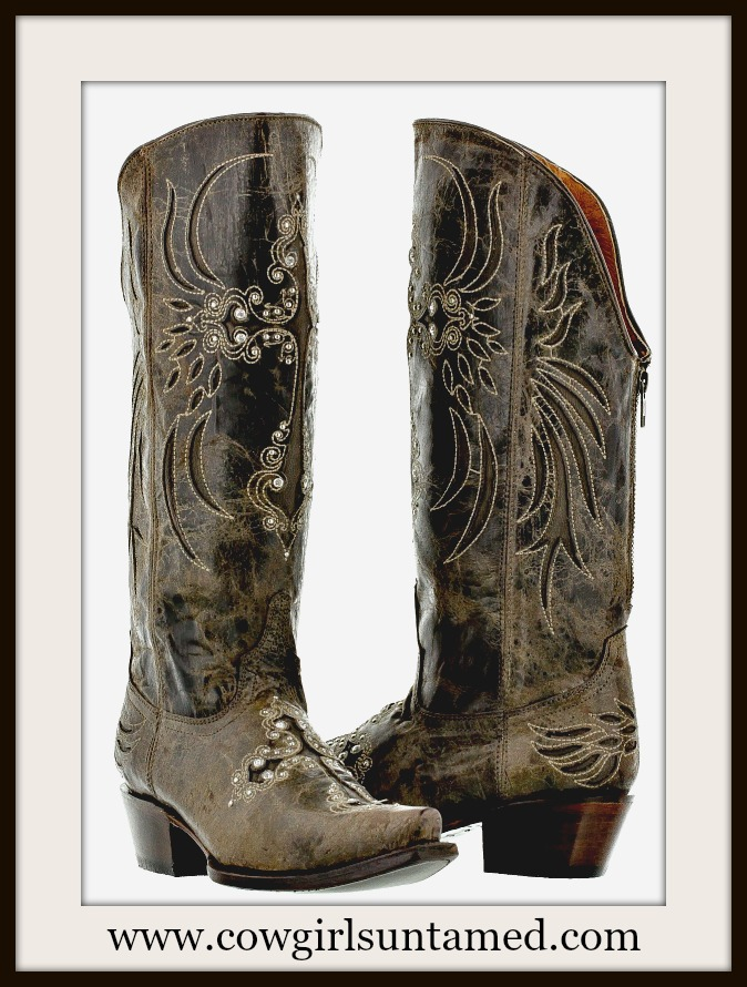 WESTERN COWGIRL BOOTS Dark Brown Zip Back Rhinestone Studded Cross Inlay on Distressed GENUINE LEATHER Boots