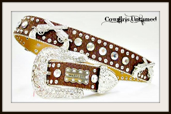 OUTLAW COWGIRL BELT Crystal Silver Sixshooter Conchos Rhinestone Studded Brown Leather Western Belt