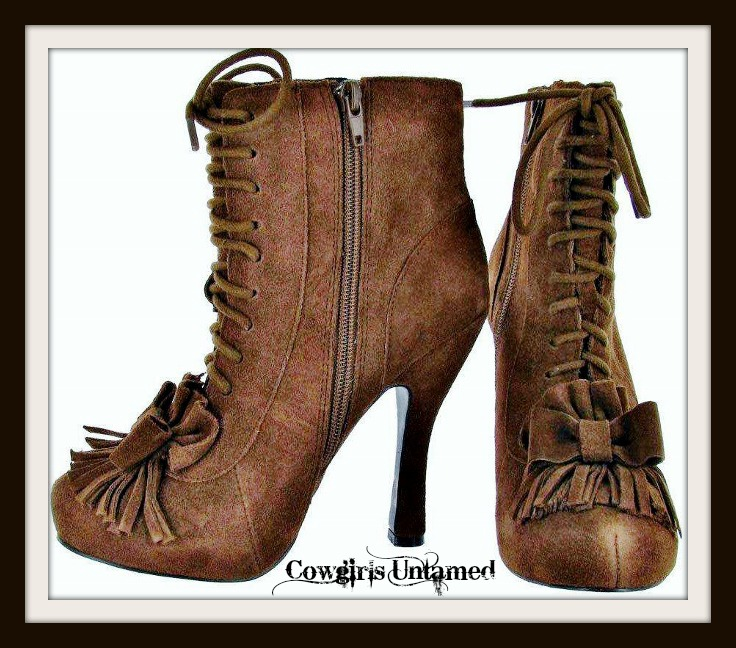COWGIRL GYPSY BOOTS Brown Suede Fringe Ankle High BETSEY JOHNSON Western Boots