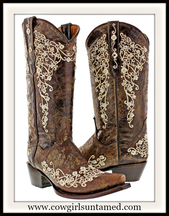 COWGIRL STYLE BOOTS Rhinestone Studded Tan Floral Embroidery on Brown GENUINE LEATHER Western Boots