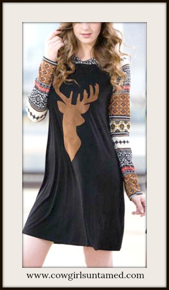 COWGIRL STYLE DRESS Brown Deer Pattern Long Sleeves Black Mini Dress wit Hoodie