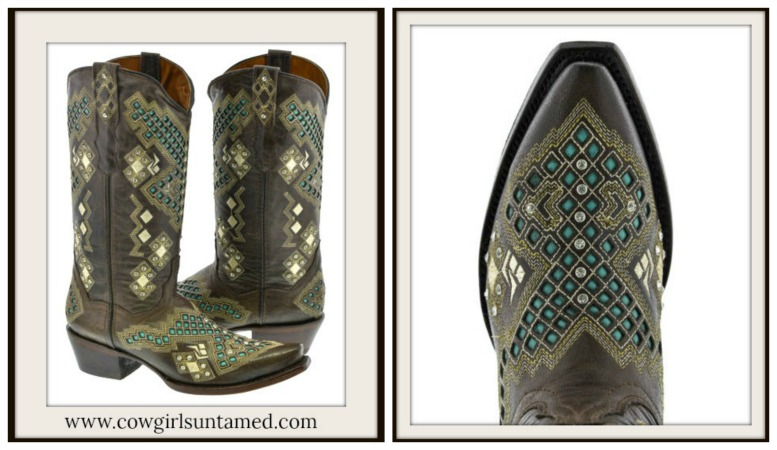 COWGIRL STYLE BOOTS Rhinestone Studded Aztec Pattern Brown and Turquoise Genuine Leather Boots