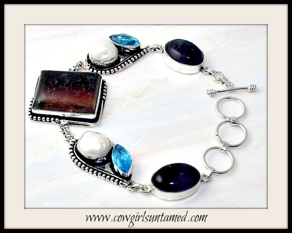 BOHEMIAN COWGIRL BRACELET Brown Flourite Purple Amethyst Blue Topaz & Pearl Sterling Silver Bracelet