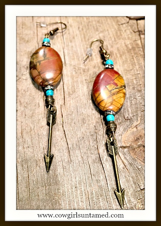 GYPSY SOUL EARRINGS Brown Jasper Rhinestone Blue Turquoise Antique Bronze Arrow Boho Earrings