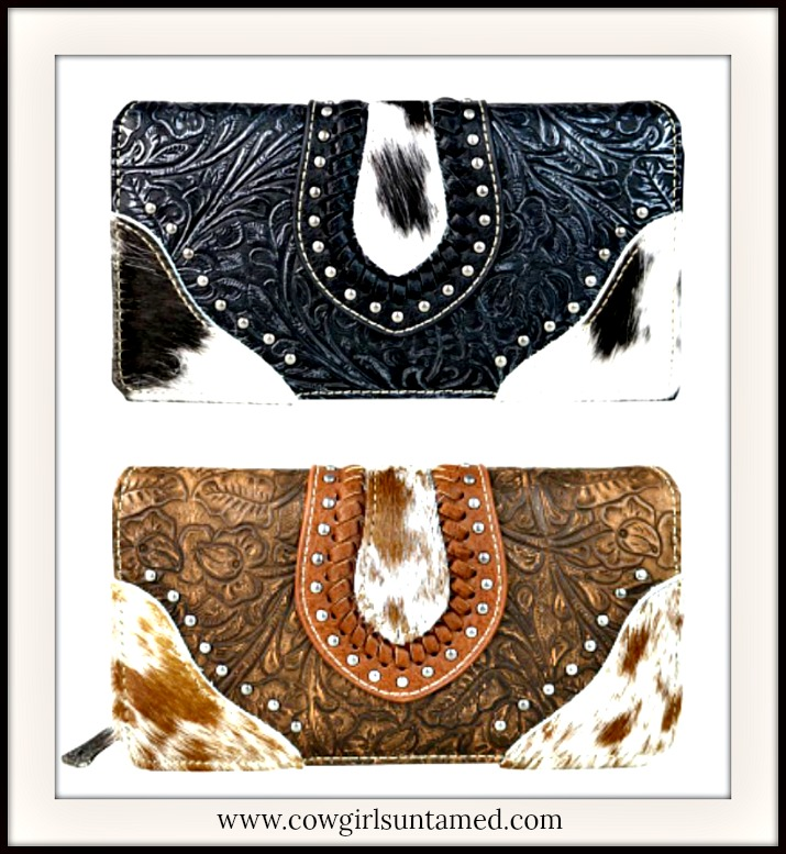 COWGIRL STYLE WALLET Tooled Leather Silver Studded Hair On Hide Wallet  2 COLORS