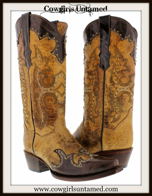 COWGIRL STYLE BOOTS Bronze Studded Distressed Brown N Sand Silver Studded Genuine Leather Cowgirl Boots