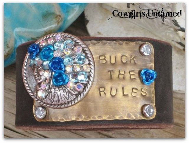 "COWGIRL STYLE CUFF ""Buck The Rules"" With Rhinestone  Blue Flowers Blue Crystals Silver Indian Chief Concho Brown Leather Bracelet"