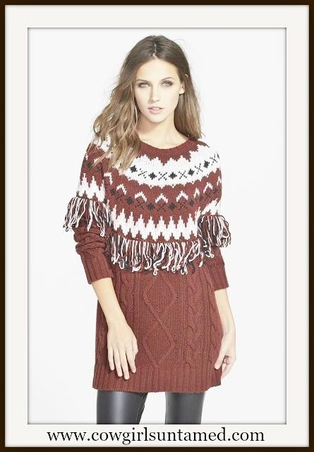 GLAMOROUS SWEATER Burgundy & Black Fringe Cableknit Designer Pullover Sweater