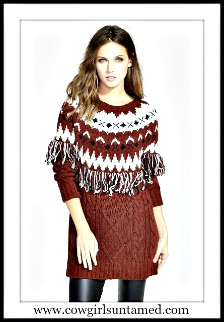 COWGIRL GLAM SWEATER Burgundy & Black Fringe Cable Knit Designer Pullover Sweater
