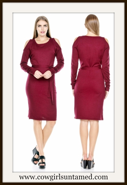 COWGIRL STYLE DRESS Burgundy Cold Shoulder Long Sleeve Sweater Designer Dress