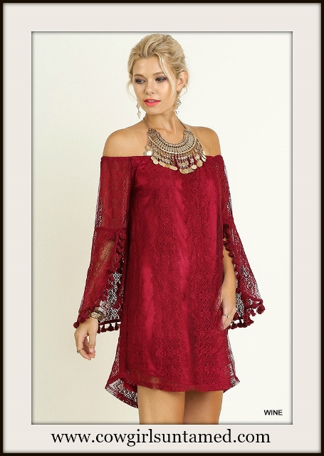 UMGEE DRESS Off the Shoulder Bell Tassel Sleeve Wine Lace Mini Dress
