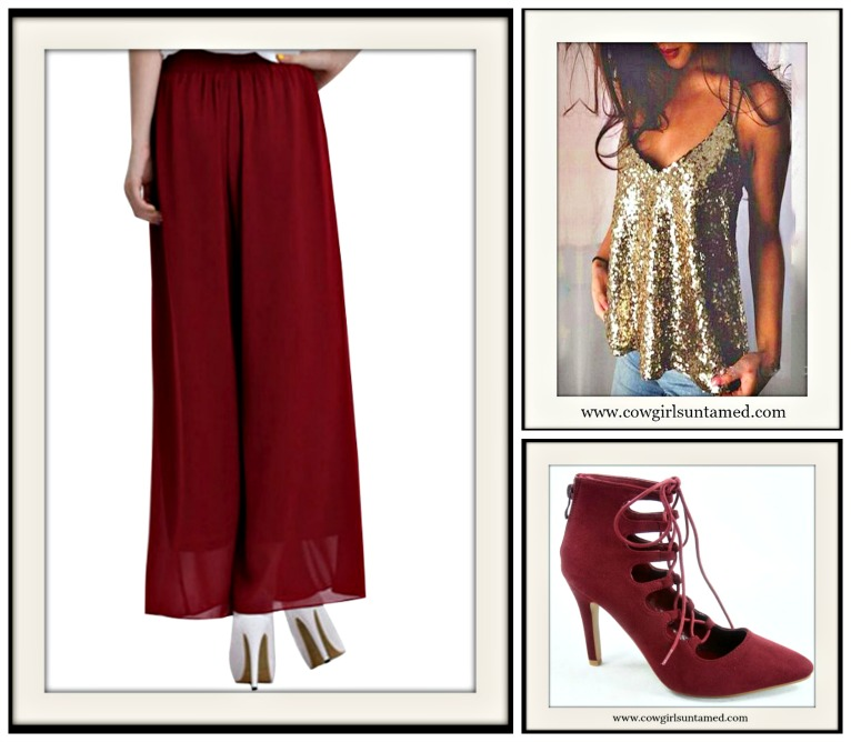 COWGIRL GLAM PANTS Burgundy Sheer Chiffon Wide Leg Capri Pants