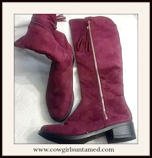 WILDFLOWER BOOTS Burgundy Red Gold Hardware Over the Knee Suede Boots