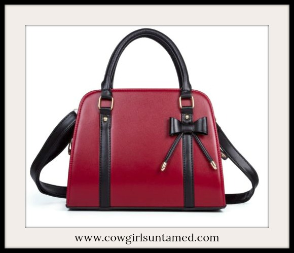 COWGIRL GLAM HANDBAG Burgundy Red with Black Bow Medium Handbag