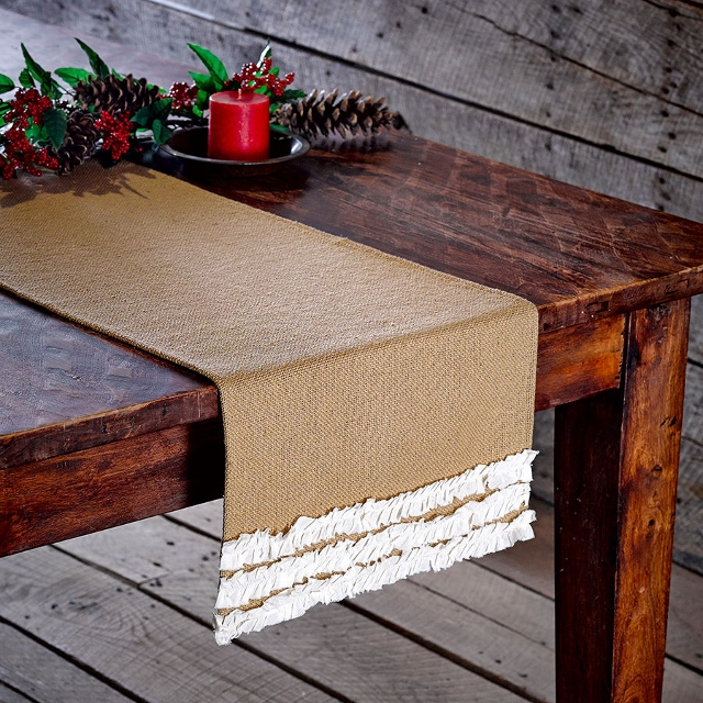 FARMHOUSE COUNTRY CHIC DECOR Cream Ruffle Trim on Long Natural Burlap Western Table Runner Decor