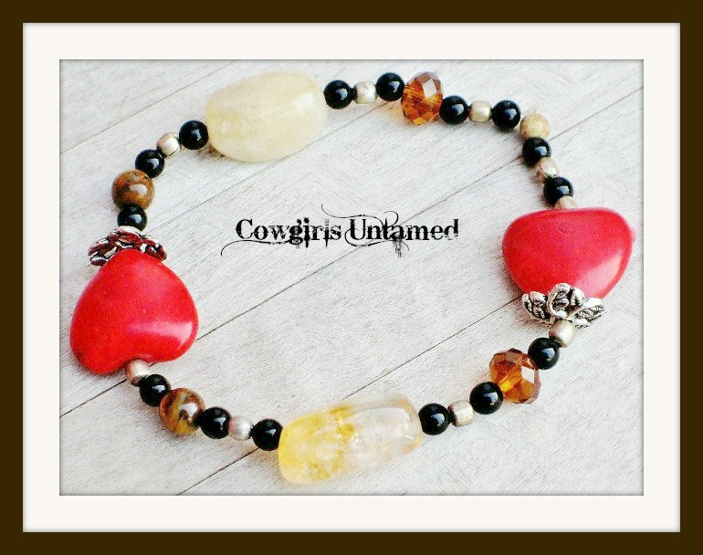 COWGIRL GYPSY BRACELET Victorian Antique Silver Red Turquoise Heart Crystal Citrine Gemstone Stretch Bracelet