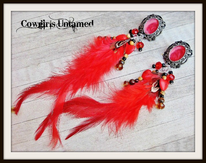 COWGIRL GYPSY EARRINGS Victorian Red Feather Turquoise Heart Gemstone Long Western Earrings