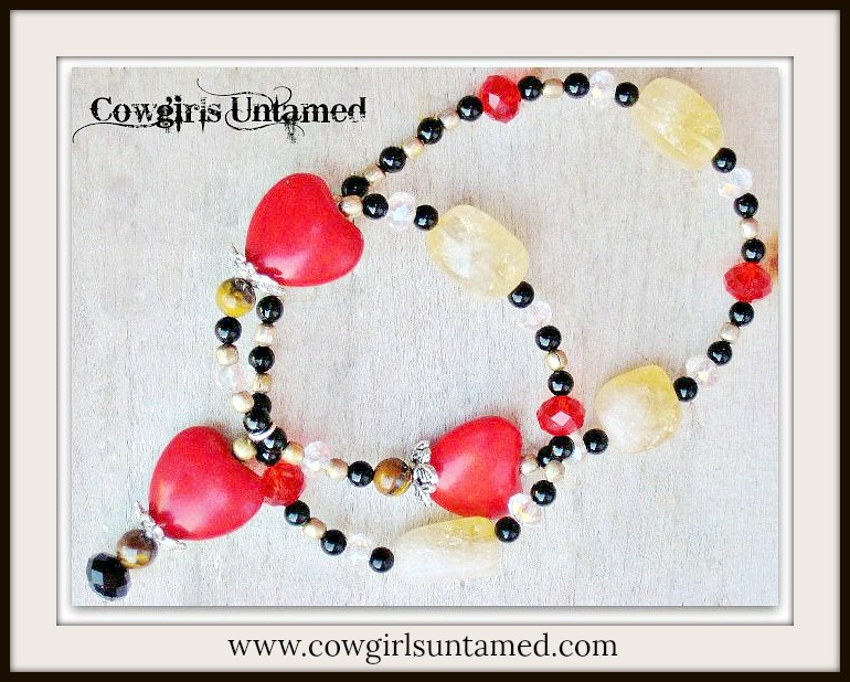 COWGIRL GYPSY NECKLACE Red Turquoise Heart and Gemstone Choker Necklace
