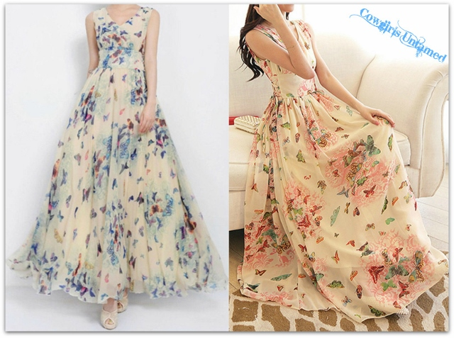 COWGIRL GYPSY DRESS Butterfly Floral Empire Waist Chiffon Long Western Boho Summer Dress in Pretty Blues and Coral Pinks