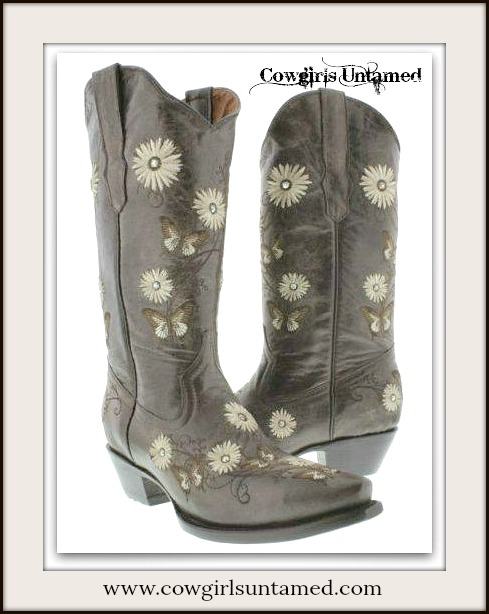 COWGIRL GYPSY BOOTS Rhinestone Studded Embroidered Flower & Butterfly BROWN GENUINE LEATHER Western Boots