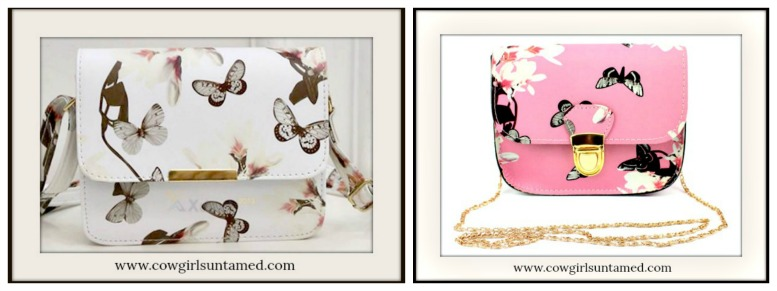 COWGIRL GLAM PURSE Butterfly & Floral Crossbody Purse  2 COLORS!