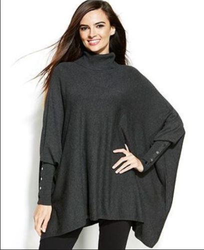 Button Sleeve Oversized Turtleneck Designer Poncho Sweater ...