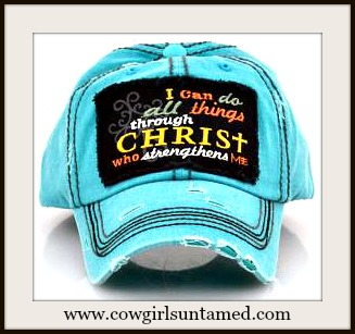 "SPIRITUAL COWGIRL CAP ""I Can Do All ThingsThrough Christ Who Strengthens Me"" Hat"