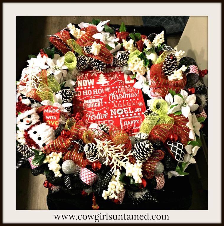 CHRISTMAS WREATH Holiday Expressions Sign Snowman & Penguin Ribbon Lime Black Red White Christmas Wreath