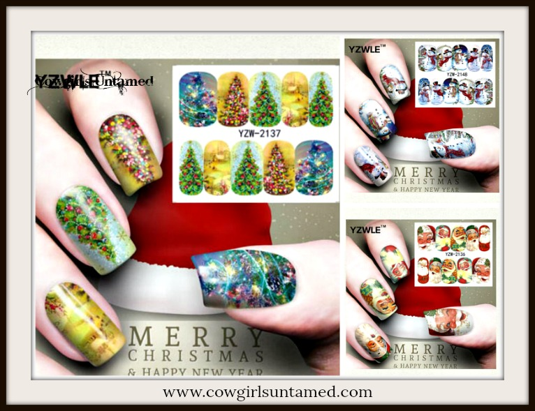 FINGERNAIL STICKERS Holiday Winter Nail Art Sticker Water Transfer Fingernail Decoration