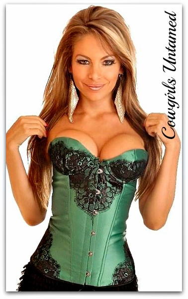 CORSET - Black Lace on GREEN Satin Lace Up Back Boned Western Corset Top