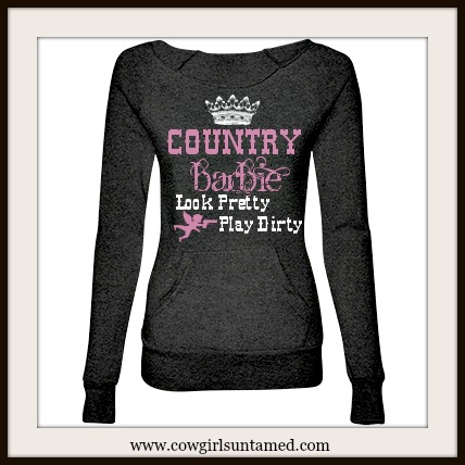 COWGIRL ATTITUDE SWEATSHIRT Pink and White