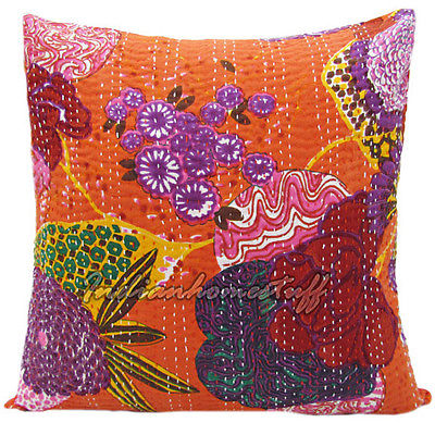 COWGIRL GYPSY DECOR Multi Color Floral Stitched ORANGE Kantha Pillow Cover