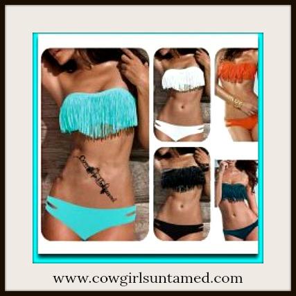 COWGIRL GYPSY BIKINI Padded Boho Fringe Removeable Strap Top Western Bikini Swimsuit