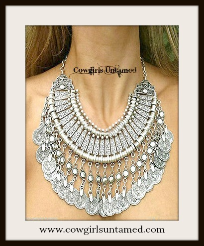COWGIRL GYPSY NECKLACE Antique Silver Plate & Coin Chunky Statement Bib Western Necklace