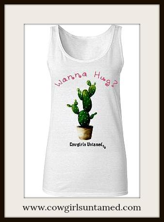 "COWGIRL ATTITUDE TOP Green Desert Cactus Pink ""Wanna Hug?"" Tank Top"