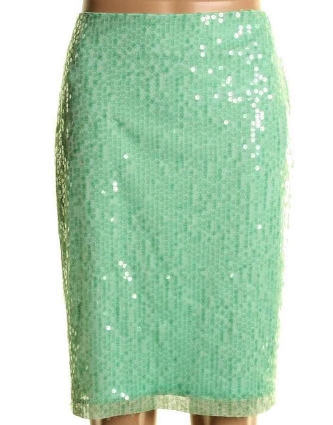 COWGIRL GLAM SKIRT Pastel Aqua Green Sequin Covered Calvin Klein Designer Pencil Skirt