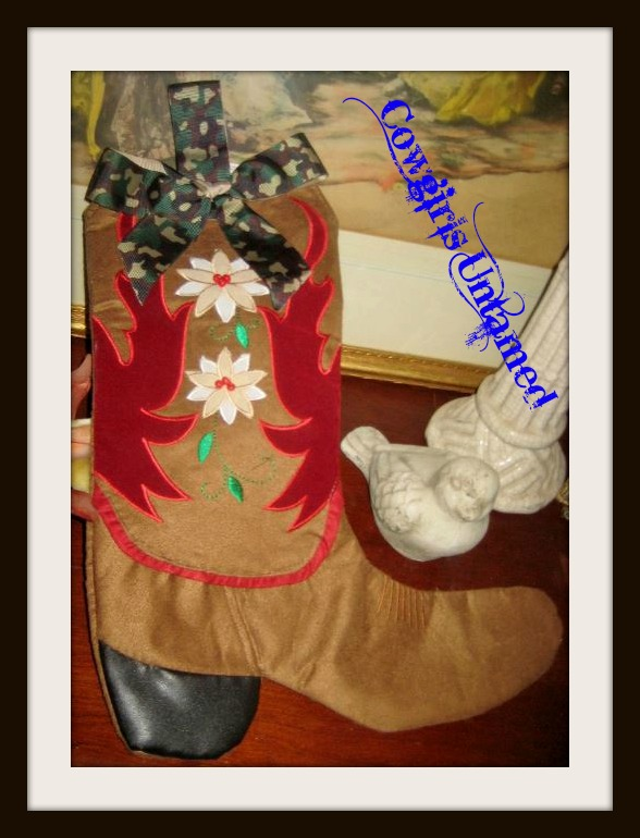 COWGIRL CHRISTMAS STOCKING Camo Green Bow on Red Velvet and Brown Felt Beaded N Embroidered Western Boot Christmas Stocking