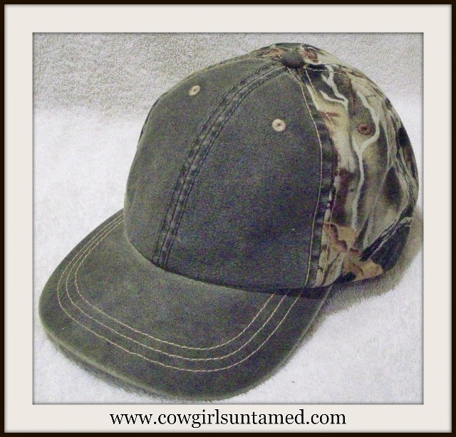 COWBOY BASEBALL CAP Olive Weather Washed Unstruct Bill Superflauge Camo Hat