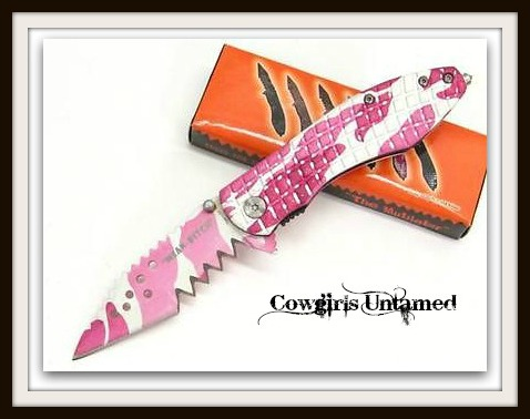 "CAMO COWGIRL KNIFE Pink Camo Assisted Serrated ""Mean Bitch"" Glassbreaker Knife"