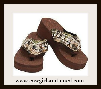 CAMO COWGIRL FLIP FLOPS Silver Pistol Concho Crystal Studded Camo Flip Flops
