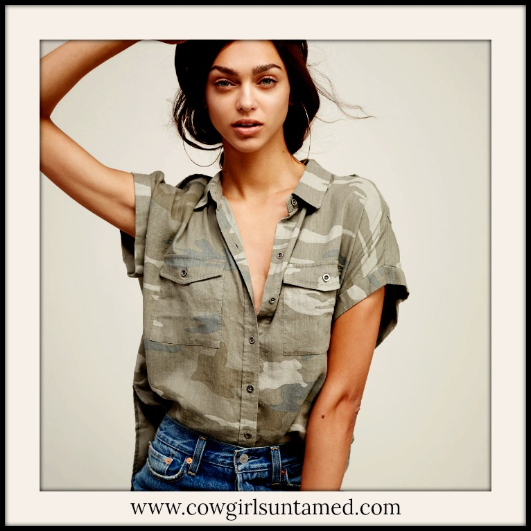 CAMO COWGIRL SHIRT Green & Tan Camouflage Button Front Cap Sleeve Top