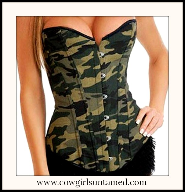 CORSET - Camo Lace Up Back REGULAR & PLUS SIZE COUNTRY COWGIRL Corset Top