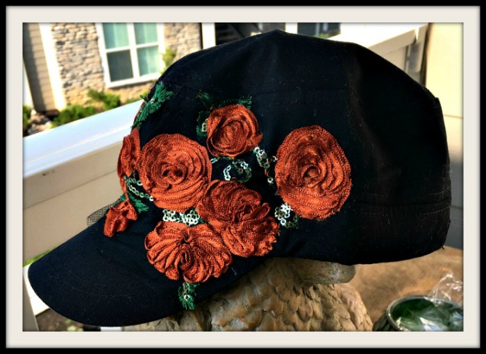 BOHEMIAN COWGIRL CAP Burnt Orange & Green Silk Flower Gold Sequin Black Cadet Cap