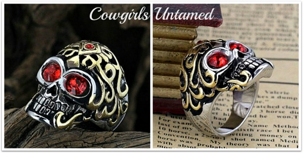 COWGIRL GYPSY RING Red Rhinestone Titanium Skull Gold Tone Ring