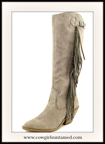 COWGIRL STYLE BOOTS Knee High Grey Suede Fringe Designer Boots