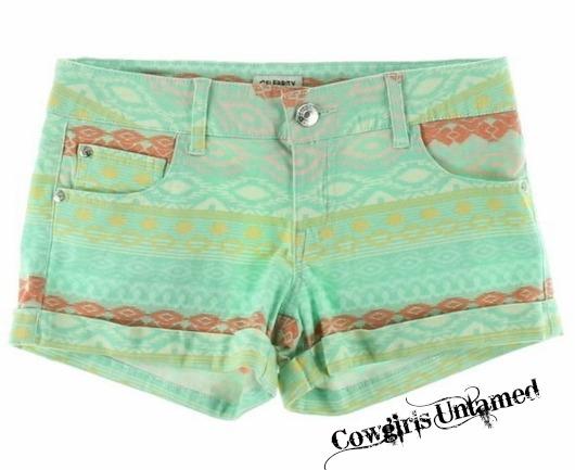 COWGIRL GYPSY SHORTS Boho Aztec Multi Color Cuffed Jean Shorts