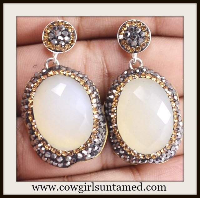 WILDFLOWER EARRINGS Silver Gold Zircon on Campagne Chalcedony Sterling Silver Earrings