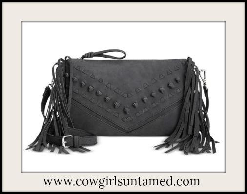DESIGNER HANDBAG Charcoal Grey Knots and Stitches Designer Fringe Messenger Bag